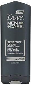 Dove Men Care Body & Face Wash Sensative Clean Dye Free Unscented (2 Pack)