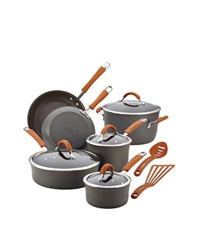 Rachael Ray 12-Piece Cucina Hard-Anodized Nonstick Cookware Set, Grey/Pumpkin Orange