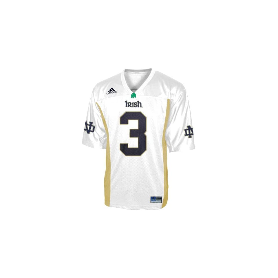 Adidas Notre Dame Fighting Irish #3 White Preschool Replica Football Jersey