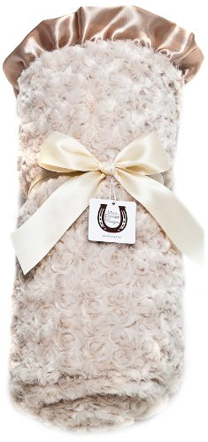 Max Daniel Designs Satin Adult Throw Blanket, Champagne Rosebuds