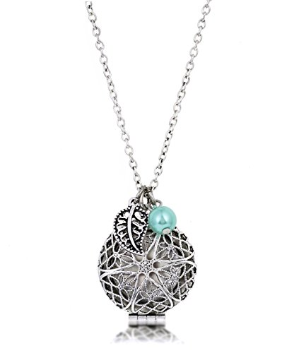 WEEK SALE! Bohemian Necklace Silver Essential Oil Diffuser Aromatherapy WLeather Pads & Adjustable Review