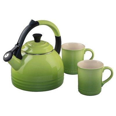 Le Creuset Enamel on Steel Kettle and Mug Set, Black (Le Creuset Black Whistling Kettle compare prices)