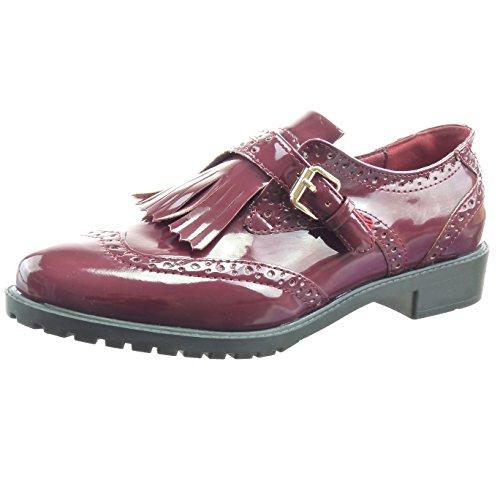 Sopily - Scarpe da Moda Mocassini ballerina alla caviglia donna perforato fibbia verniciato Tacco a blocco 3 CM - Rosso WLD-8-L01-3 T 39