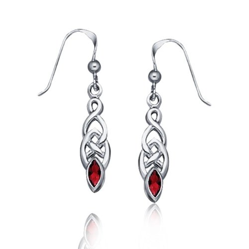 Christmas Gifts Bling Jewelry Genuine Garnet Celtic Knotwork Drop Earrings 925 Sterling Silver