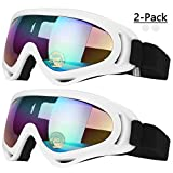 COOLOO Ski Goggles, Pack of 2, Skate Glasses for Kids, Boys & Girls, Youth, Men & Women, with Protection, Wind Resistance, Anti-Glare Lenses (White) (Color: 06.white/white)