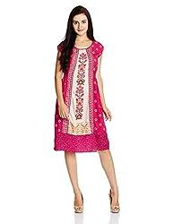 Fusion Beats Women's A-Line Dress (E515ARTI03Y PINK_S)