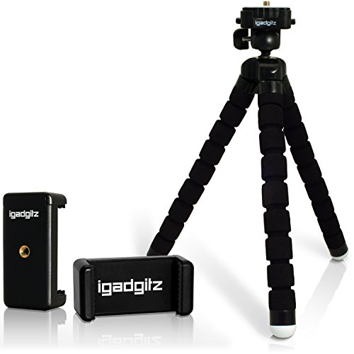 iGadgitz-Lightweight-Large-Universal-Flexible-Foam-Mini-Tripod-with-Universal-Smartphone-Holder-Mount-Bracket-Adapter-for-SLR-DSLR-Cameras-including-quick-release-plate-Black