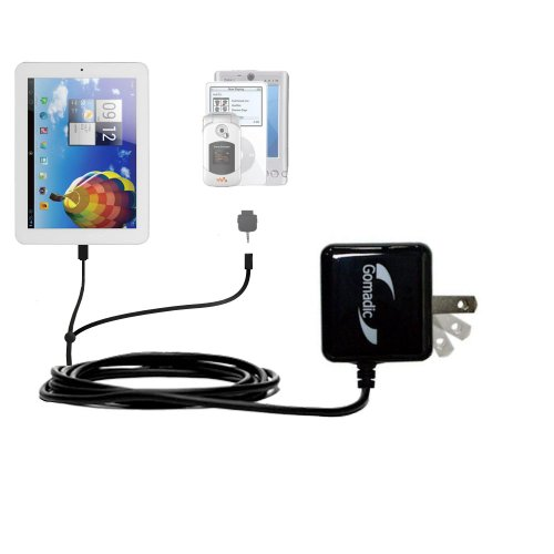 Gomadic Multi Haven AC Home Wall Charger designed for the Kocaso SX9700 / SX9722 / SX9701 - Uses TipExchange to exhort up to two devices at once