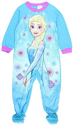 Disney Frozen Elsa Girls Toddler One Pc Footed Blanket Sleeper Pajama (2T, Blue) (Toddler Movie)