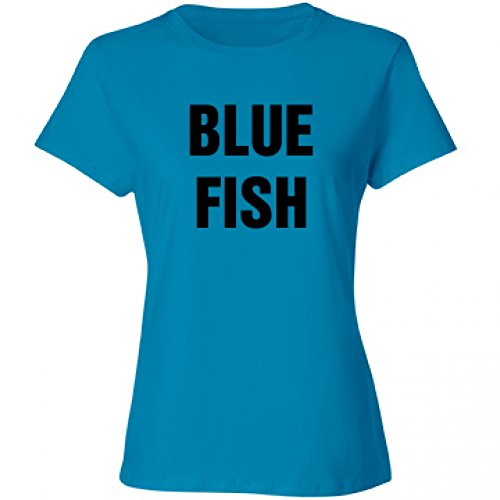 Group Rhyme Costume Blue Fish: Misses Relaxed Fit Cotton T-Shirt (Fun Group Costumes)