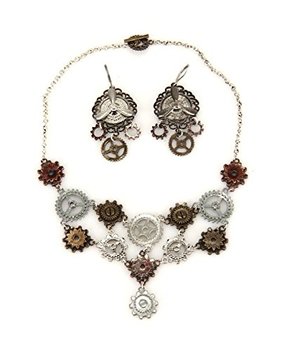 Multi Gear Necklace And Earring