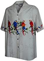 Tropical Parrot Hawaiian Shirts - Mens Hawaiian Shirts - Aloha Shirt - Hawaiian Clothing - 100% Cotton White Medium