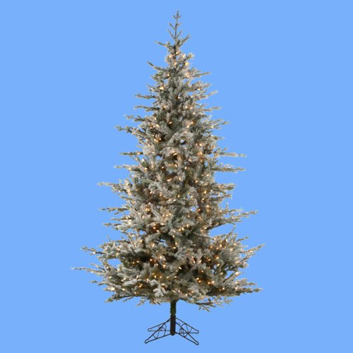 7.5' Pre-Lit Frosted Rustic Pine Artificial Christmas Tree - Clear Lights