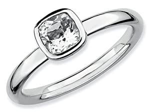 Stackable Expressions Sterling Silver Cushion Cut White Topaz Stackable Ring Size 5