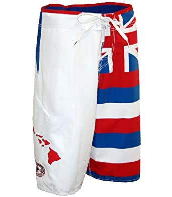 No Fear Men's FLAG OF HAWAII BOARDSHORT- White 42 at