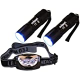 Rolson 61762 - Linterna de 9 luces LED y linterna frontal de 3-LED Head Light Set (lote de 3 unidades)