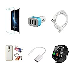 High Quality Combo of LeTV 1s Temper Glass + Car Charger 3 USB + Type C Data Cable + Attractive Back Cover (Transparent Back with Golden Border) + Audio Splitter Cable