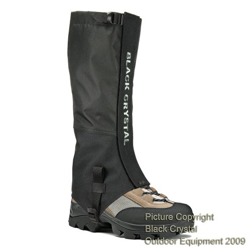 Black Crystal Hiking Gaiters Waterproof Nylon Men's Black Size Large