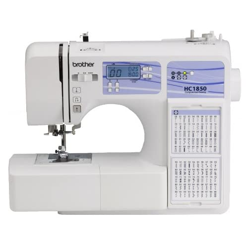 Brother HC1850 Computerized Sewing and Quilting Machine with 130 Built-in Stitches, 8 Presser Feet, Sewing Font, Wide Table, and Instructional DVD