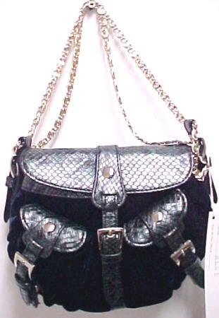 Buy Snakeskin Accent Blue Velvet Evening Bag Purse Handbag