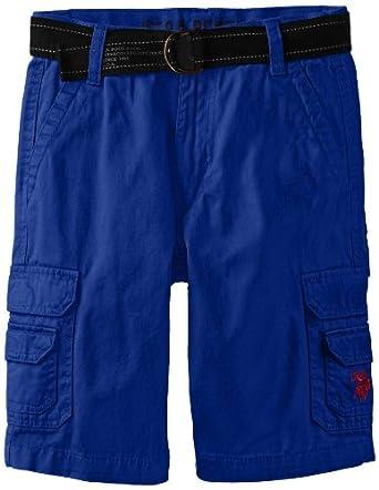 U.S. Polo Assn. Big Boys' Belted Fine Twill Cargo Short, Cobalt Blue, 10