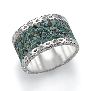 Silver and Crushed Turquoise Ring