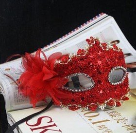 Nsstar Liles Venetian Lace Mask with Rhinestone Flower for Masquerade Halloween Costume