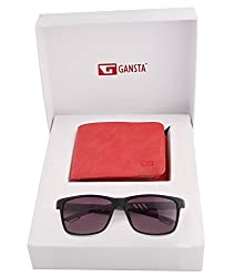 Gansta mens gift set of grey lens aviator sunglasses & suede finish red wallet
