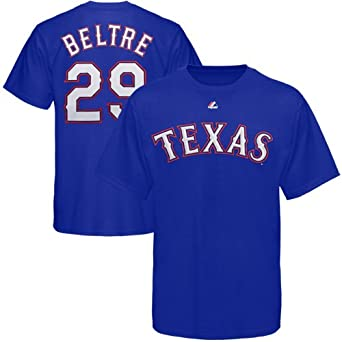 MLB Majestic Adrian Beltre Texas Rangers Player T-Shirt - Royal Blue by Majestic