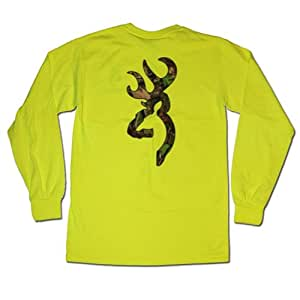 Safety green browning camouflage buckmark long for Safety logo t shirts