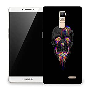 Snoogg Colorful Grey Skull Designer Protective Back Case Cover For OPPO R7 PLUS