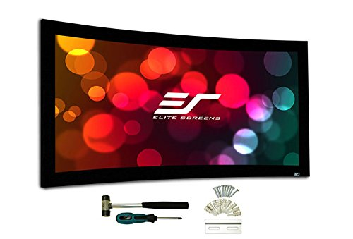 Elite Screens Lunette Series, Curved Fixed Frame Projection Screen, CineWhite material, 125-inch Diag. 2.35:1, Curve235-125W2