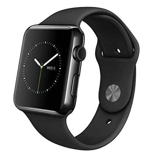 Apple Watch 42mm Space Black Stainless Steel Case Black Sport Band (MLC82LL/A)