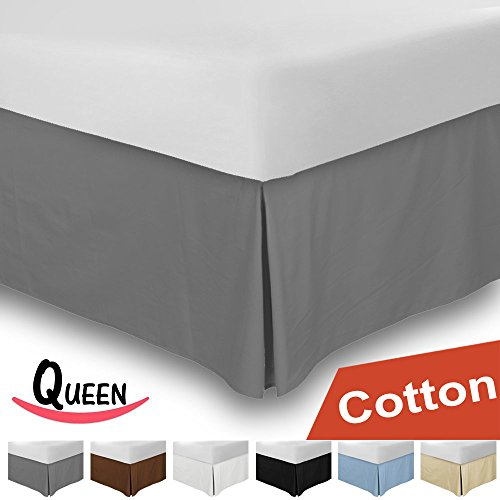 Why Choose Combed Cotton Queen Bed-Skirt Grey - 100% Finest Quality Long Staple Fiber - Durable, Com...