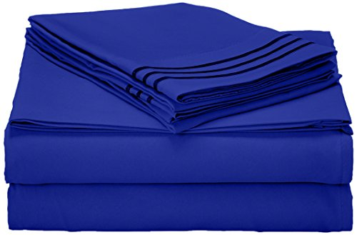 Elegant Comfort 1500 Thread Count Wrinkle Resistant Egyptian Quality Ultra Soft Luxurious 4-Piece Bed Sheet Set, Queen, Royal Blue (Royal Blue Bed Sheets compare prices)