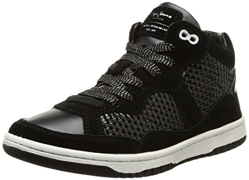 Pepe Jeans  Lindsay Woven,  Sneaker donna Nero Noir (999Black) 39