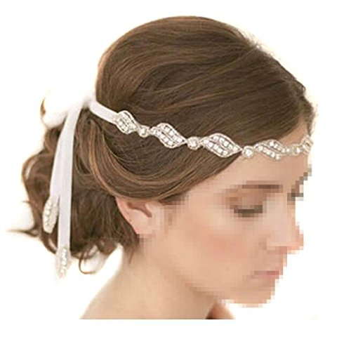 Healthcom Headpiece Handmade Crystals Beads with White Satin Ribbon Wedding Bride Hair Clasp Headband Hair Pins Hair Accessory