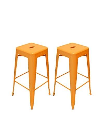 Aeon Set of 2 Galaxy Barstools, Orange