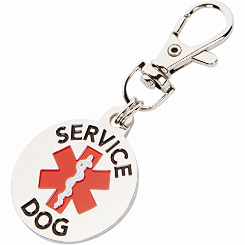 DOUBLE SIDED SERVICE DOG with Red Medical Alert Symbol 1.25 inch Durable Stainless Steel Dog Tag (Double Sided Dog Id Tag compare prices)