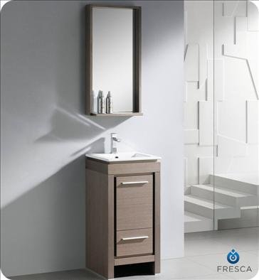 Fresca Allier 18 Inch Gray Oak Modern Bathroom Vanity with Mirror