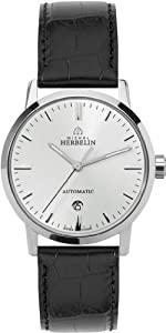 Michel Herbelin Men's Automatic Watch with White Dial Analogue Display and Black Leather Strap 1669/11