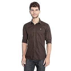 FlyJohn Brown Cotton Silk Men's Shirt