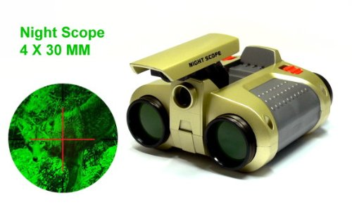 Green Stealth Lens Night Scope 4X30Mm With 25Ft Pop-Up Spot Light Bs001