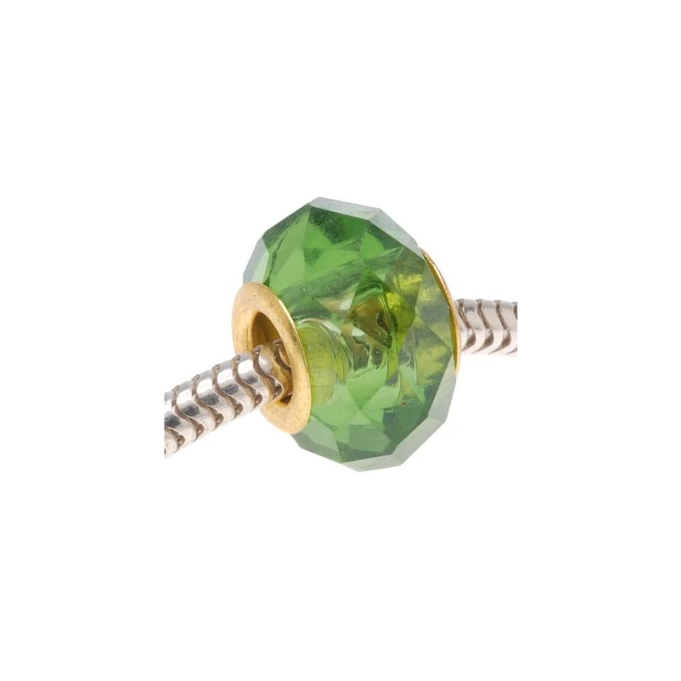 Faceted Glass Bead Fits Pandora Emerald Green 14mm Gold Tone Grommet (1)