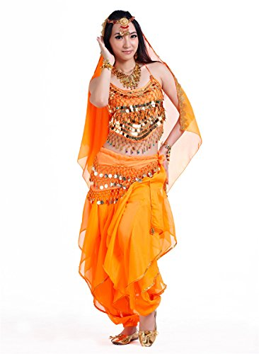 3pcs Orange Indian Belly Dance Suits Performance Costume