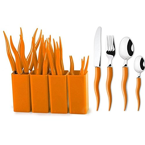 18-0 Stainless Steel Cutlery,Fork,Spoon,Knife,Teaspoon,24pcs Silverware,Flatware,Orange