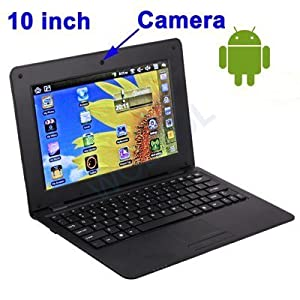 WolVol NEW (Android 4.0 - 1GB RAM) SOLID BLACK 10inch Laptop Notebook Netbook PC, WiFi and Camera with Google Play (Includes Mini PC Mouse)