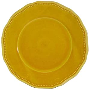 "Le Cadeaux Provonce Solid Yellow 11""Round Dinner Plate"