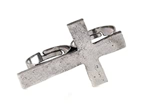 Vintage Retro Alloy Cross 2 Fingers Double Ring Adjustable