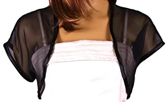 Grace and Flair Black Chiffon Short Sleeve Bolero Shrug Size 08